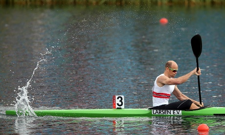 Eirik Veras Larsen of Norway paddles to victory in the men's kayak single (K1) 1000m canoe sprint final. Photograph: Julian Finney/Getty Images
