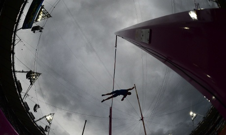 Australia's Steven Hooker warms up prior to competing in the men's pole vault qualifications in the Olympic stadium. Photograph: Franck Fife/AFP/Getty Images