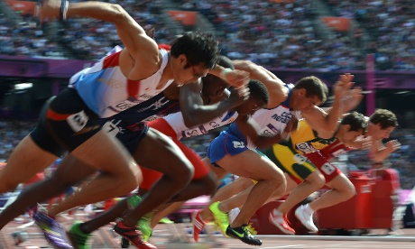 The start of the men's decathlon 100m heat this morning. Photograph: Johannes Eiselle/AFP/GettyImages