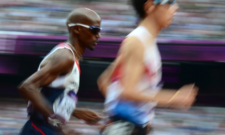 Britain's Mohamed Farah, competes in the men's 5000m heats. Photograph: Olivier Morin/AFP/GettyImages