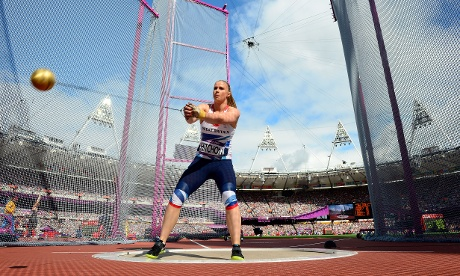 Sophie Hitchon of Great Britain competes in the women's hammer throw qualifications. Photograph: Stu Forster/Getty Images
