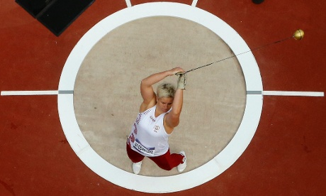 Another view of the hammer throwing: Poland's Anita Wlodarczyk in the circle. Photograph: Pawel Kopczynski/AFP/GettyImages