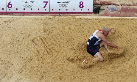 Daniel Awde of Great Britain competes in the men's decathlon long jump. Photograph: Richard Heathcote/Getty Images