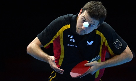 Germany's Timo Boll during the table tennis men's team bronze medal match. Photograph: Saeed Khan/AFP/Getty Images