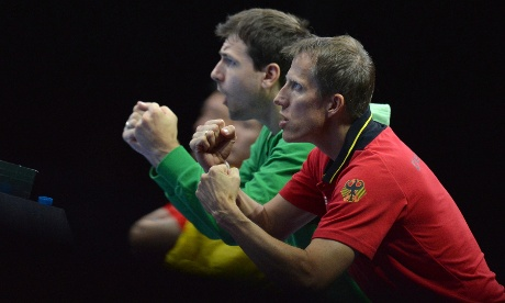 Germany's team cheer Dimitrij Ovtcharov during the men's table tennis: Photograph: Saeed Khan/GettyImages