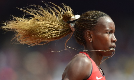 In full flow: Kenya's Janeth Jepkosgei Busienei in the women's 800m heats today. Photograph: Johhannes Eiselle/AFP/GettyImages