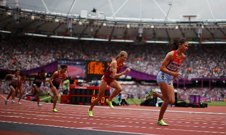 Haley Nemra of the Marshall Islands heads the start of the women's 800m heat. Photograph: Lucy Nicholson/Reuters
