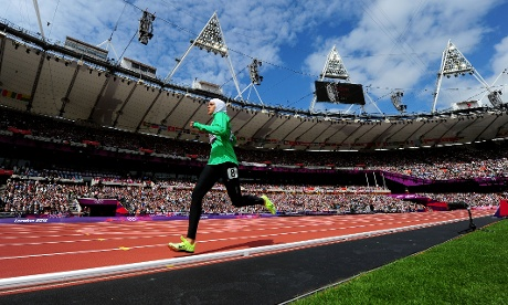 Sarah Attar of Saudi Arabia competes in the women's 800m Round 1 heats. Photograph: Stu Forster/Getty Images