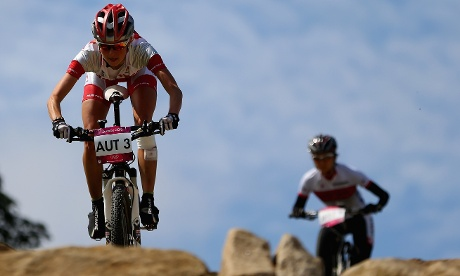 Elisabeth Osl from Austria in action during a Mountain Bike training session
