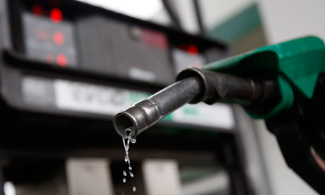 Petrol dripping from pump at forecourt