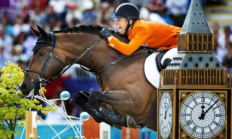 Jock around the clock: Maikel van der Vleuten of The Netherlands riding Verdi competes in the final round of the Individual Jumping Equestrian. Photograph: Robin Utrecht/EPA