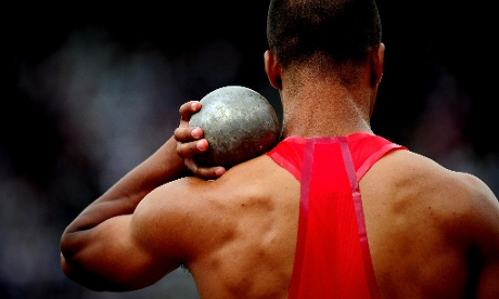 It all rests on the shoulders of Ashton Eaton as he competes in the Men's Decathlon Shot Put. Photograph: Stu Forster/Getty Images