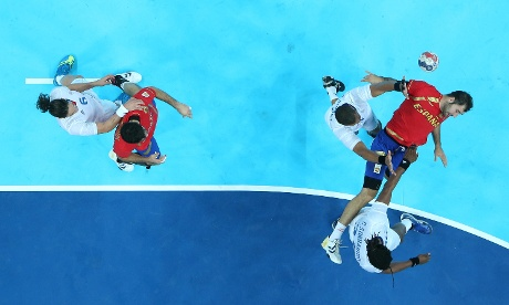 Raul Entrerrios Rodriguez of Spain in action during the Men's Handball quarterfinal match. Photograph: Ian Walton/Getty Images