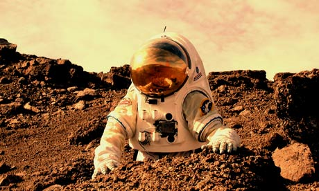 Lee tests a spacesuit in the Martian conditions of Canada's Devon Island.