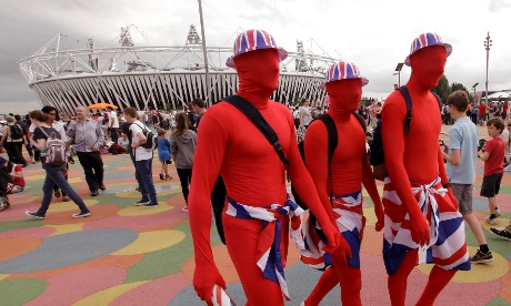 British fans walk past the Olympic Stadium in the Olympic Park, this afternoon> Photograph: Charlie Riedel/AP