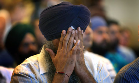 A Sikh man weeps