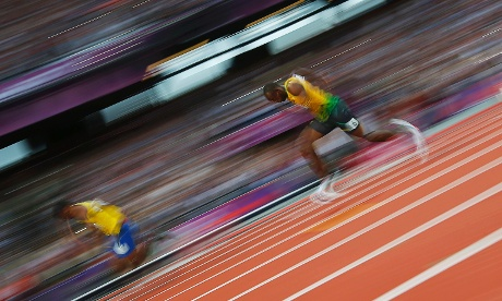 Jamaica's Usain Bolt runs through the turn in his men's 200m semi-final.