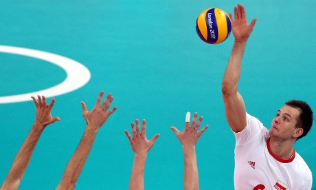 Bartosz Kurek of Poland in action against Russia during their Men's Volleyball quarter-final.