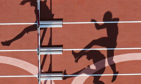The bright sunshine is throwing some great shadows of the athletes in action during the 110m hurdles heats of the men's decathlon.