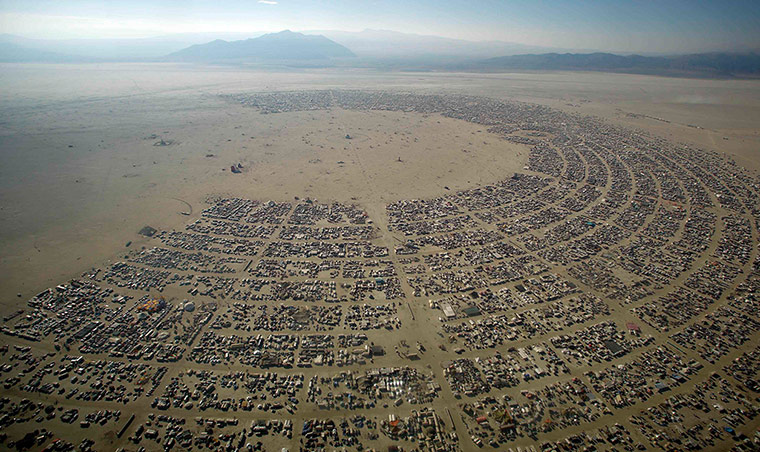 Burning Man: An aerial view shows the Burning Man arts and music festival