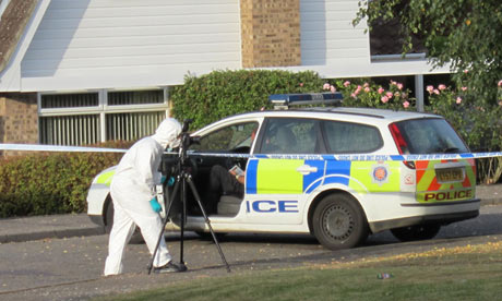 Police at the scene where Jay Whiston, 17, was murdered at a house party in Colchester, Essex