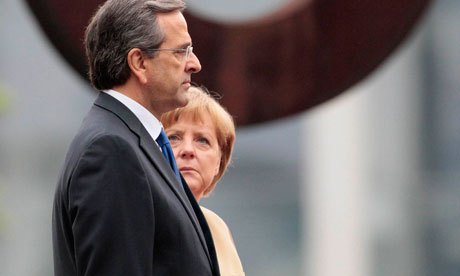 German Chancellor Merkel and Greek Prime Minister Samaras attend welcome ceremony in Berlin