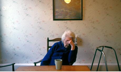 Elderly woman in residential home