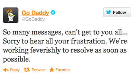 Go Daddy Twitter update on hack