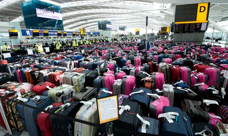 A baggage handling exercise at Heathrow in preparation for the Olympics