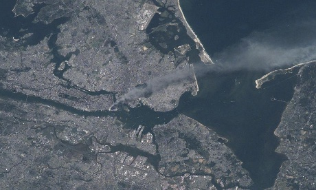 NYC on 9/11 as seen from space