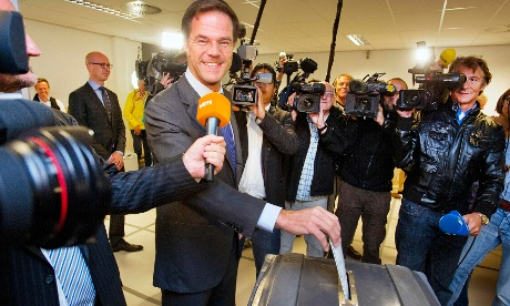 Dutch Prime Minister and Liberal Party leader Mark Rutte casts his ballot for the Netherlands' general election at a voting station in The Hague September 12, 2012.
