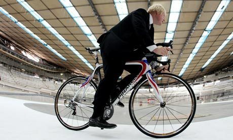 London mayor Boris Johnson in the velodrome