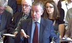 Michael Gove giving evidence to the education select committee