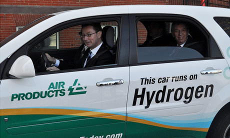 Energy minister Greg Barker during a visit to the US in a car provided to him by Air Products