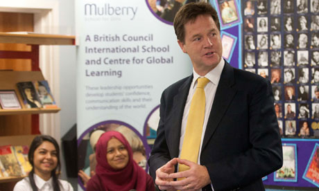Lib Dem leader Nick Clegg visits Mulberry school in London