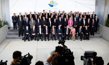EU financial ministers pose for the group photo at the conference center during an Informal European economic and financial affairs council in  Nicosia, Cyprus, Friday, Sept. 14, 2012.