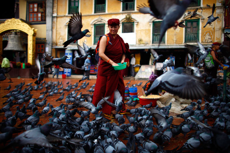 A monk feeds pigeons near Boudhanath Stupa