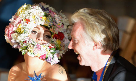 Lady Gaga and Philip Treacy at London fashion week
