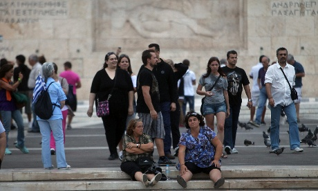 On Saturday, protesters gathered in front of the Greek Parliament during a rally organised by the Indignant Greeks movement. Photograph: Simela Pantzartzi/EPA