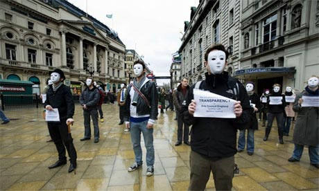 Masked protest against arts cuts, 2008