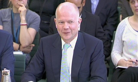 Foreign Secretary William Hague gives evidence to the Foreign Affairs Committee in House of Commons, London.