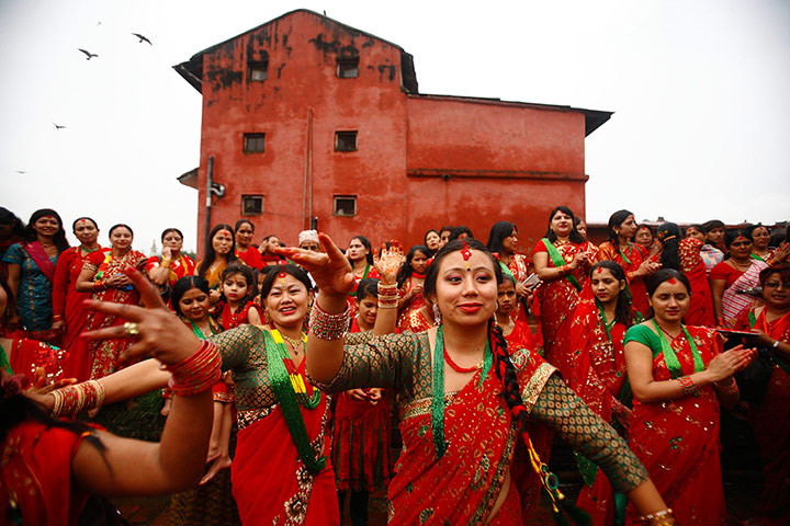 Nepal Teej festival: Women sing and dance at the Temple during the Teej festival