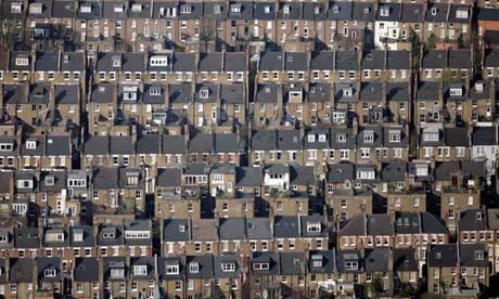 Residential streets of terraced houses in east London.