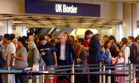 Queues at Heathrow border control in June