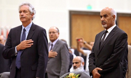 US deputy secretary of state William Burns, with  Mohamed al-Megarief, president of Libya's parliament during a ceremony in Tripoli on Thursday for US ambassador Chris Stevens, and three others, who were killed last week in the attack on the US consulate in Benghazi.