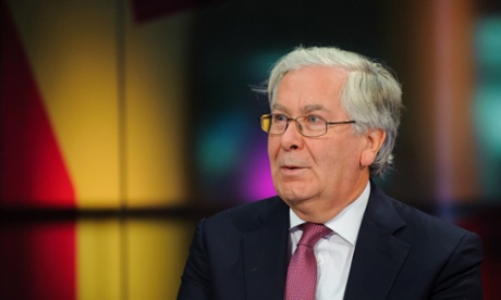 Governor of the Bank of England Sir Mervyn King ahead of his first-ever live television interview, at the studios of Channel 4 news, in central London.