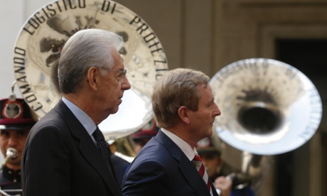 Italian premier Mario Monti, left, meets Irish Prime Minister Enda Kenny at Palazzo Chigi government office, in Rome, Friday, Sept. 21, 2012.