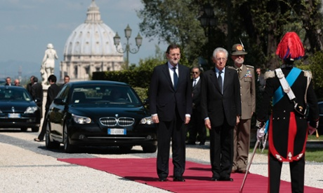 Italian Premier Mario Monti, right, meets with Spanish counterpart Mariano Rajoy at Rome's Villa Pamphili, Friday, Sept. 21, 2012.