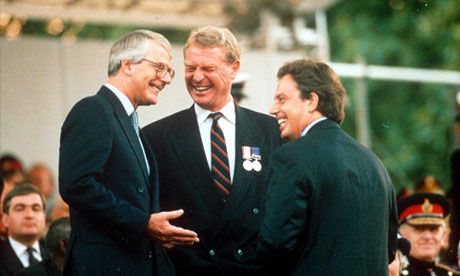 Ashdown with John Major and Tony Blair at the VE Day celebrations, 1995.