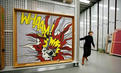Whaam! by Roy Lichtenstein in Tate Modern's storage warehouse